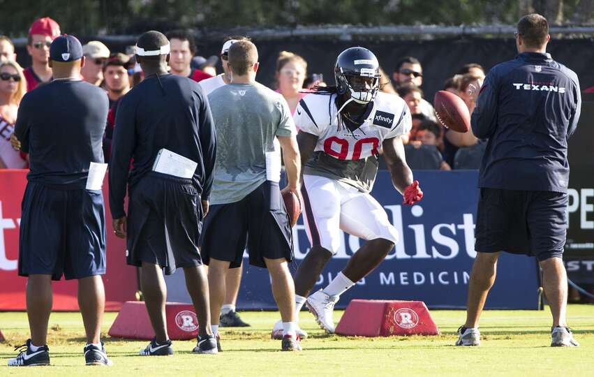 Day 3: July 28  Texans linebacker Jadeveon Clowney (90) runs throug