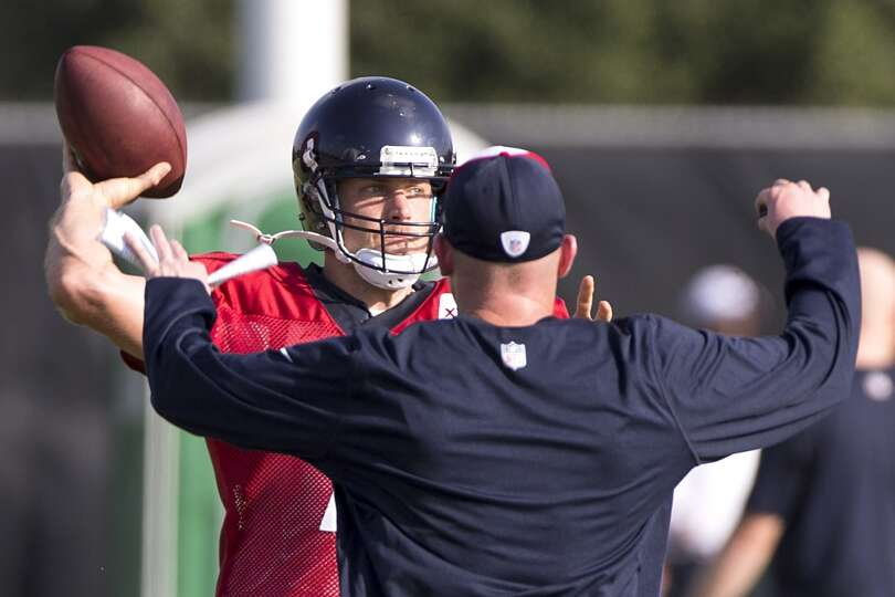 Day 3: July 28  Texans quarterback Case Keenum throws a pass over q