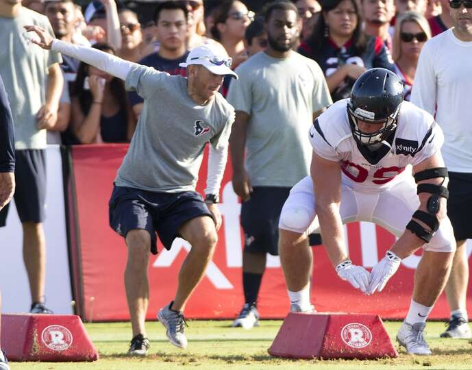 Day 3: July 28  Texans defensive end J.J. Watt runs through a drill