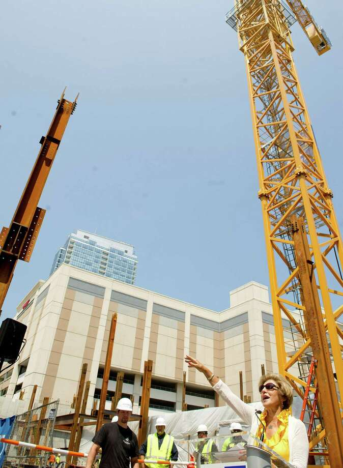 Sandy Goldstein, President of Downtown Special Services District, speaks during a ceremony to commemorate the beginning of steel construction on Summer House, a 21-story building on lower Summer Street which will contain retail and restaurant space, 226 residential units and amenities including a pool. Photo: Lindsay Perry / Stamford Advocate