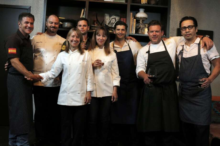 The chefs who put together the Top 100 Newcomers fundraising dinner for the San Francisco/Marin Food Bank at The Cavalier in San Francisco, Calif., on Sunday, July 27, 2014. From left to right are Michael Chiarello, of Coqueta, Andrew Cain of Sante, Emily Luchetti of The Cavalier, Jared Rogers of Picco, Jennifer Puccio of The Cavalier, Nico Delaroque of Nico, Tyler Florence of Wayfare Tavern, and Shotaro Kamio of Iyasare. The Chronicle helped organize the dinner as part of the Eat Drink SF festival. Photo: The Chronicle