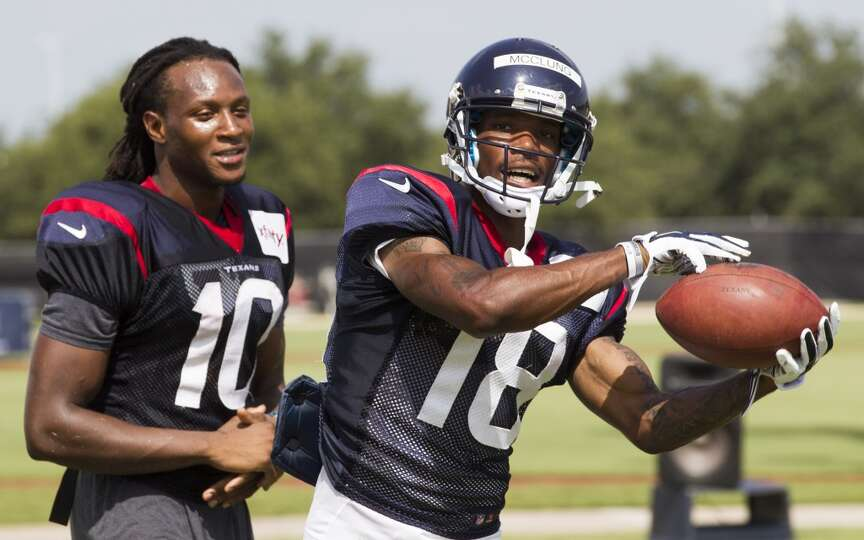 Day 3: July 28  Texans wide receivers Anthony McClung (18) and DeAn