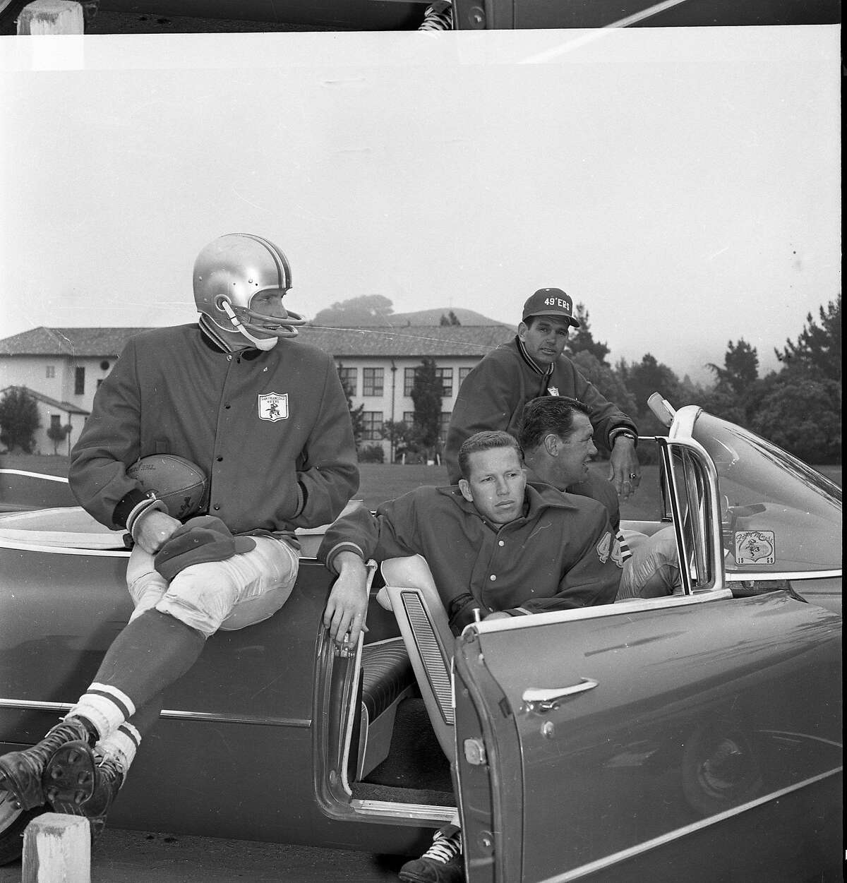 49ers players posed like the coolest kids in high school at training camp 1961.