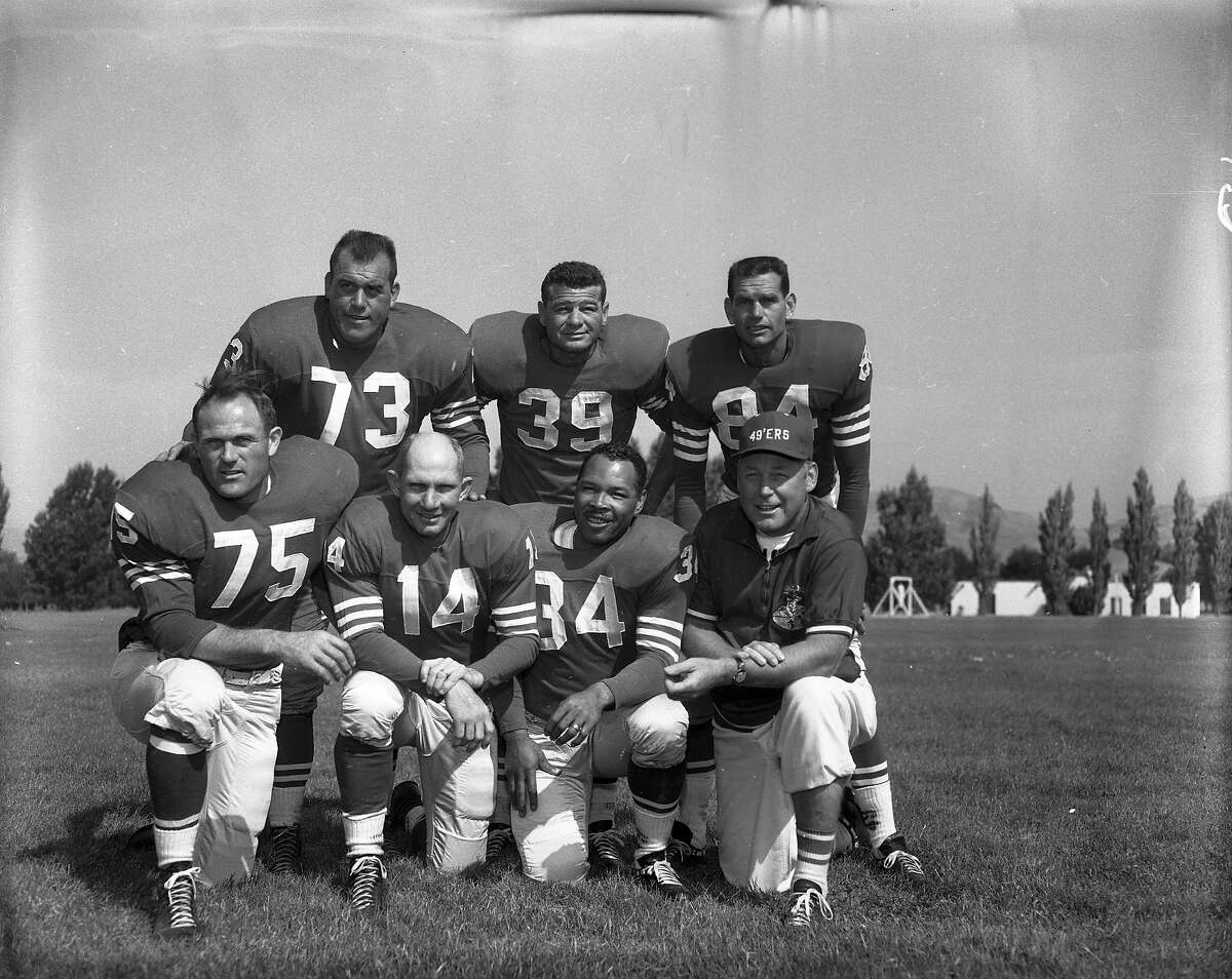 As the 2014 49ers partake in training camp today, check out these practice photos from the 1950s and 60s. Many are never-before-seen shots scanned from negatives in the Chronicle archive. Training camp 1960 (From left to right, top to bottom): Tackle Leo Nomellini, halfback Hugh McElhenny, receiver Billy Wilson Lineman Ed Henke, quarterback Y.A. Tittle, fullback Joe Perry, head coach Red Hickey