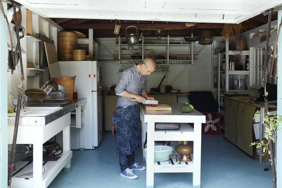 Sylvan Brackett, the chef behind Peko Peko, a Japanese catering company, and a soon-to-open San Francisco restaurant in his backyard culinary lab in Oakland. Photo: Aya Brackett, Special To The Chronicle