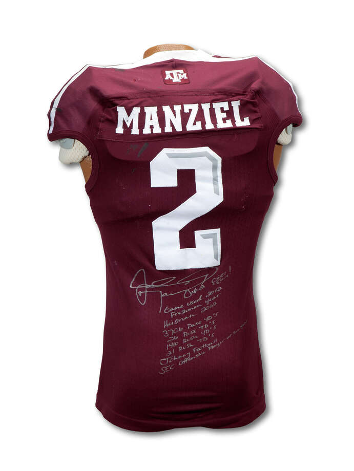 A Texas A&M football jersey worn in six games by Johnny Manziel is expected to sell for more than $100,000, according to SCP Auctions, the company selling the uniform. Photo: Courtesy, SPC Auctions / ©LeslieBIrd
