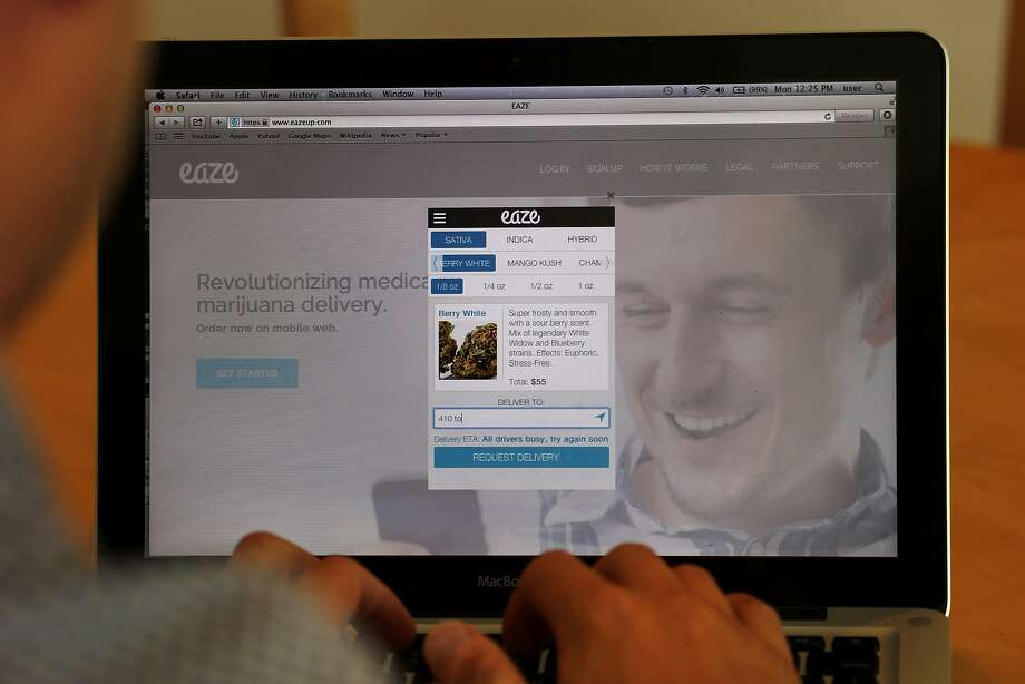 The Eaze website has descriptions of the kinds of medical marijuana that can be ordered for delivery from the San Francisco company. Photo: Brant Ward, San Francisco Chronicle