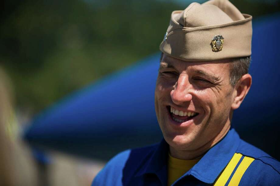 Media interview pilots of the U.S. Navy Blue Angels at Boeing Field Monday, July 28, 2014, in Seattle, Wash. Photo: JORDAN STEAD, SEATTLEPI.COM / SEATTLEPI.COM