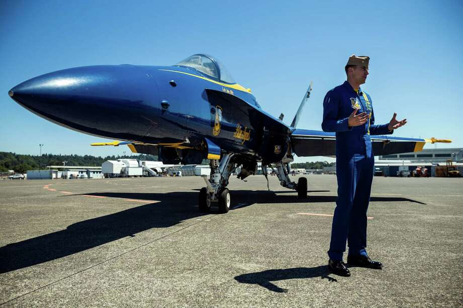 Media interview pilots of the U.S. Navy Blue Angels at Boeing Field Monday, July 28, 2014, in Seattle, Wash. Photo: JORDAN STEAD, SEATTLEPI.COM / SEATTLEPI.COM