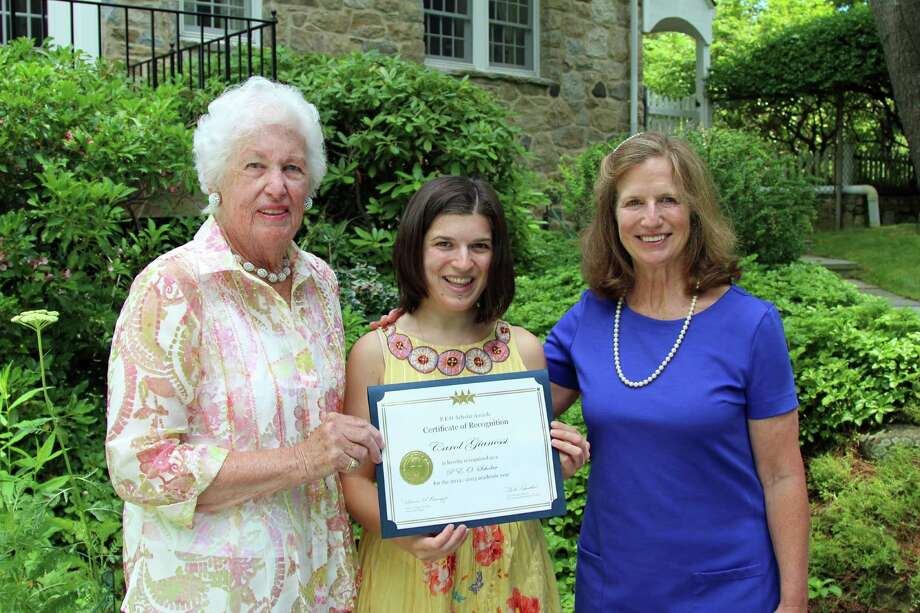 Above, P.E.O. Chapter N President Joan Starr, Scholar Awards winner Carol Gianessi and P.E.O. Chapter N Scholar Awards Chairman Jeanne Fredericks. .  The P.E.O. Sisterhood is a philanthropic and educational organization interested in bringing to women increased opportunities for higher education. Photo: Contributed Photo, Contributed / New Canaan News Contributed