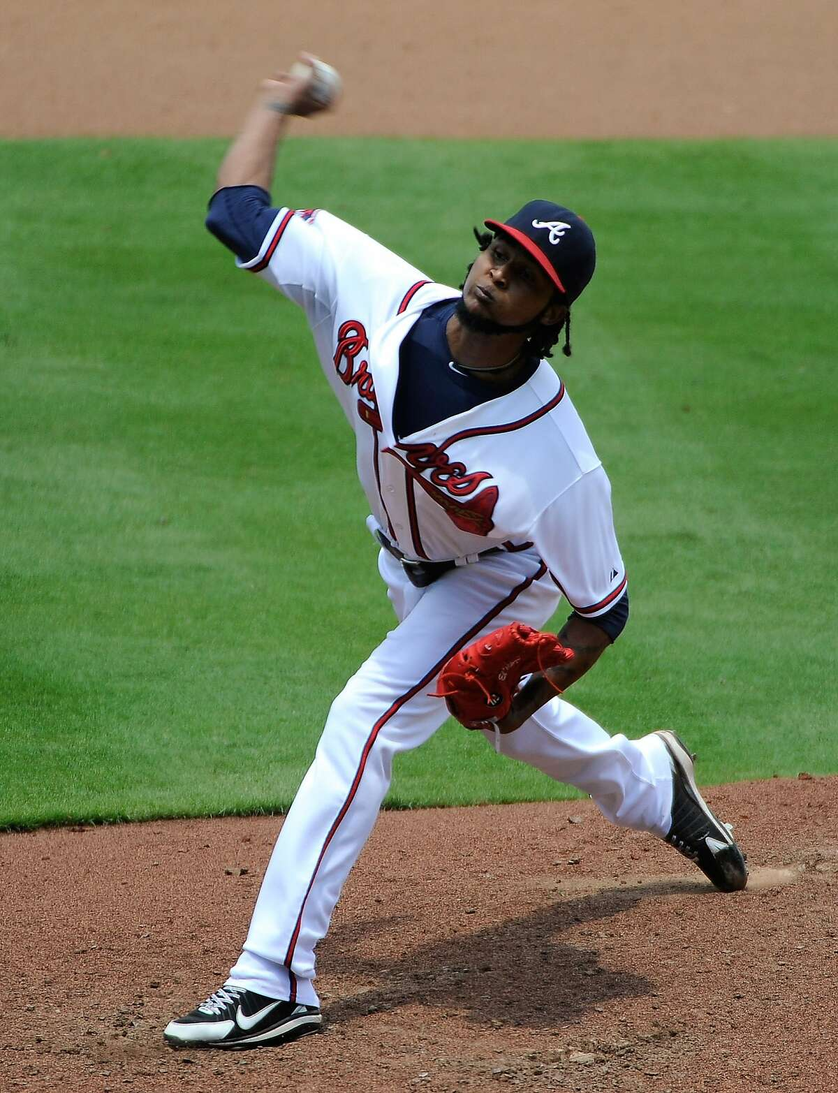 Atlanta Braves starting pitcher Ervin Santana delivers to the San Diego Padres during the seventh inning of a baseball game Monday, July 28, 2014, in Atlanta. (AP Photo/David Tulis)