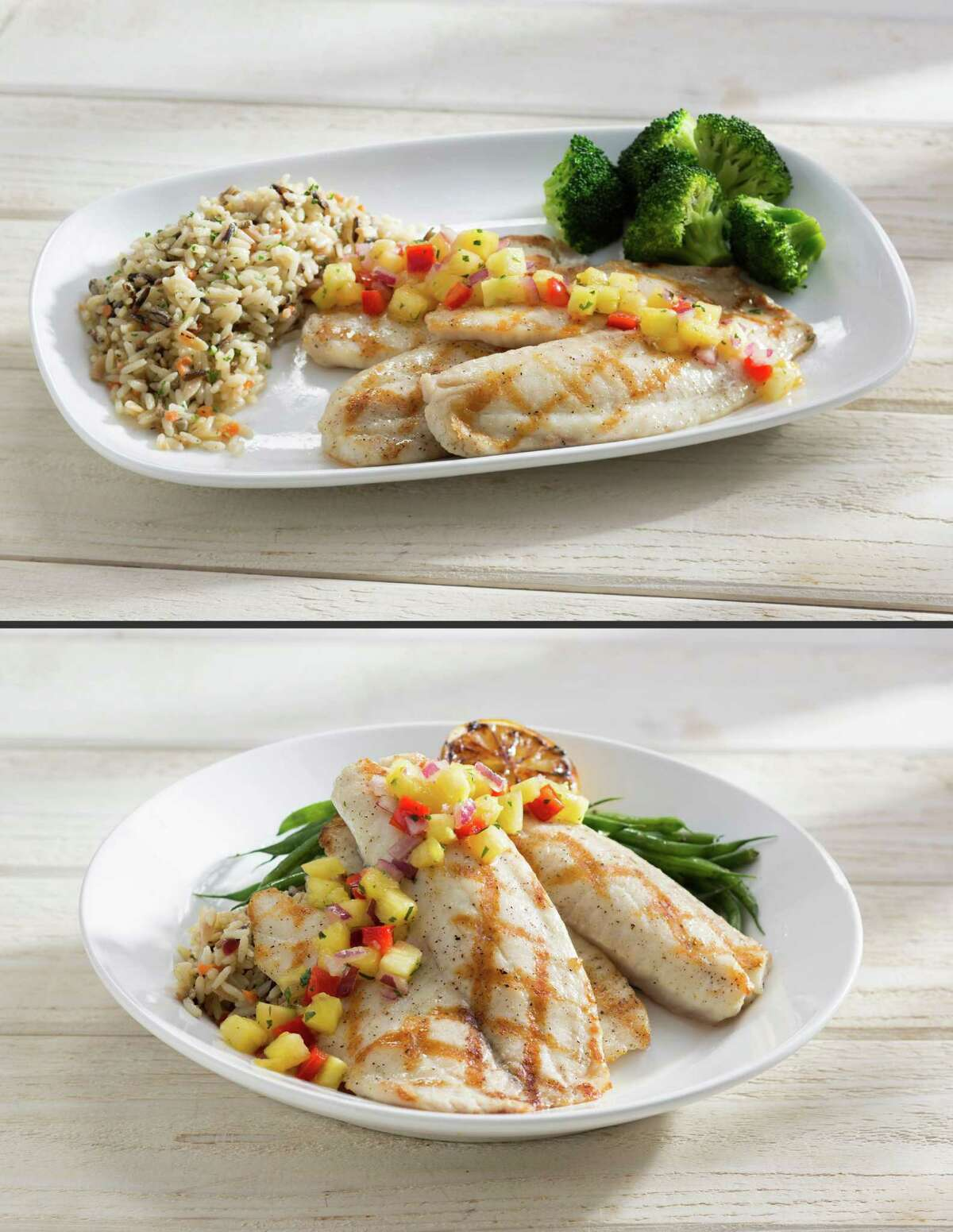 This combination made from photos provided by Red Lobster shows its Wood Grilled Tilapia, on rectangular plates, with the fish, rice and vegetables spread out separately, top; and the same dish on a circular plate on which slabs of fish are piled over the rice, an architectural presentation that is common at higher-end restaurants. The new plating style marks the latest attempt by the struggling seafood to right its course as it embarks on a new era. (AP Photo/Red Lobster) ORG XMIT: NYBZ113