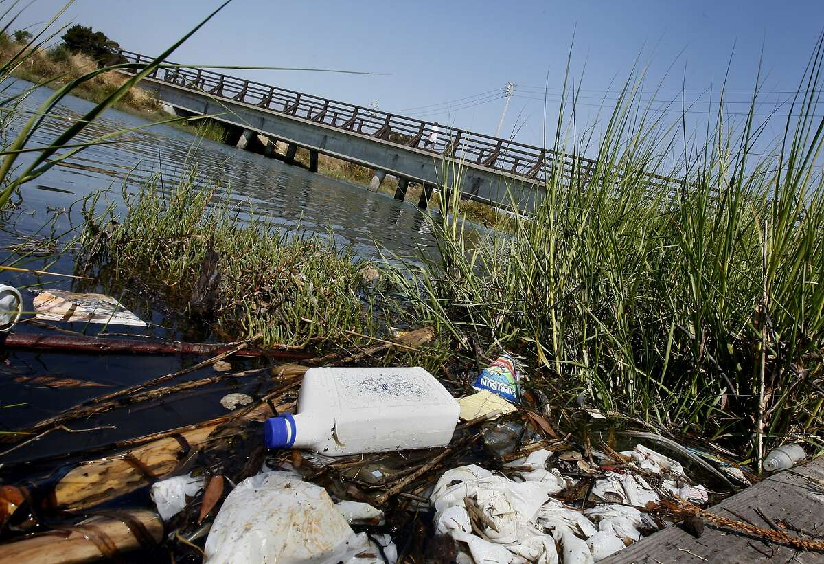 Litter can be seen on the south side of Damon Creek near the pedestrian bridge. Save the Bay issues its list of top trashiest spots in and around the San Francisco Bay which include Damon Slough in Oakland, Calif. and Mission Creek in San Francisco, Calif.