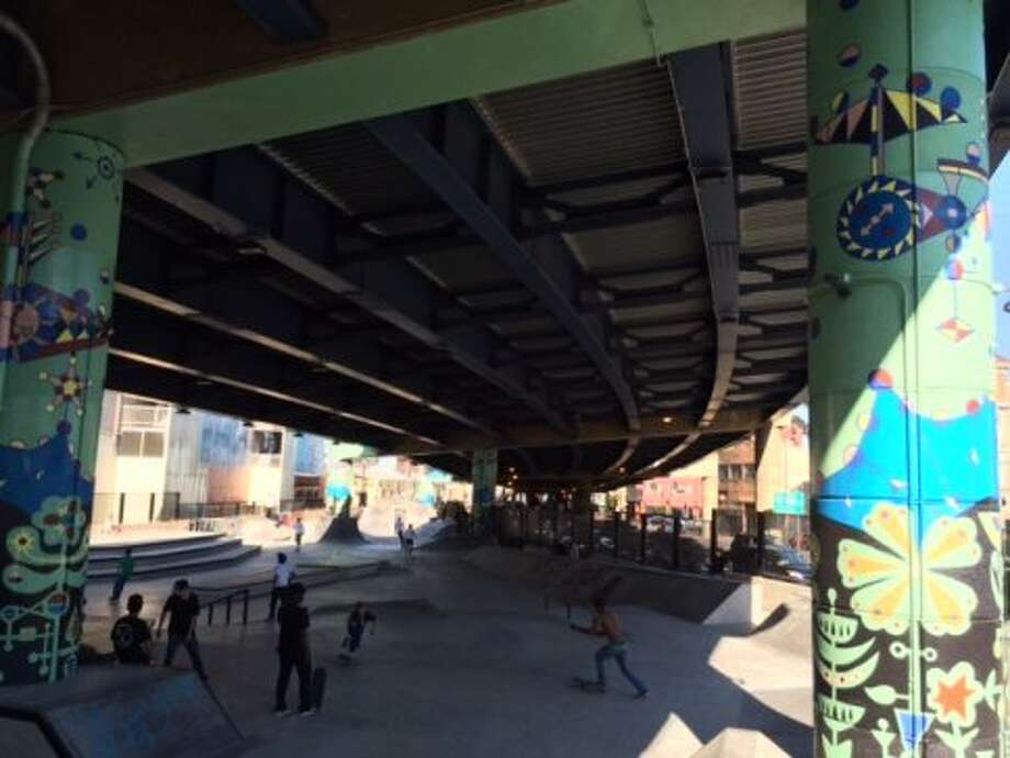 Mural at the new skatepark under the Central Freeway. The Chronicle/Sam Whiting