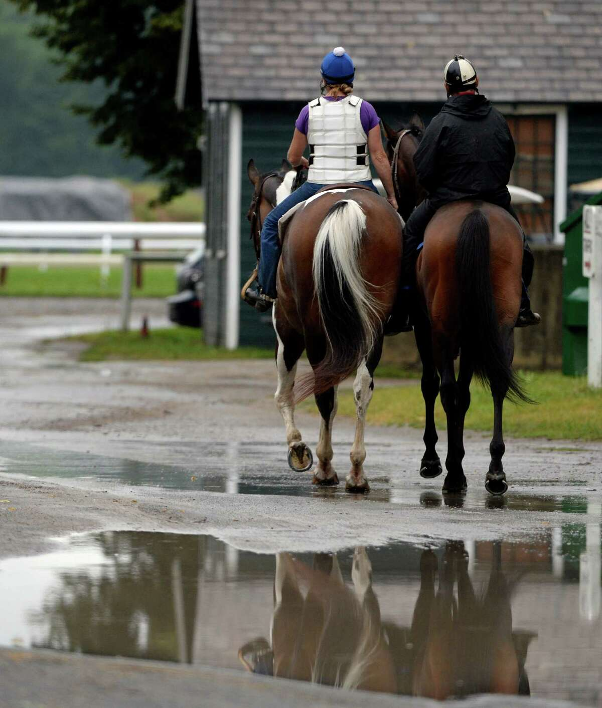 Horses dodge the puddles on the way to the track for their exercise after heavy rains hit the area Monday morning, July 28, 2014, at the Oklahoma Training Center in Saratoga Springs, N.Y. (Skip Dickstein / Times Union)