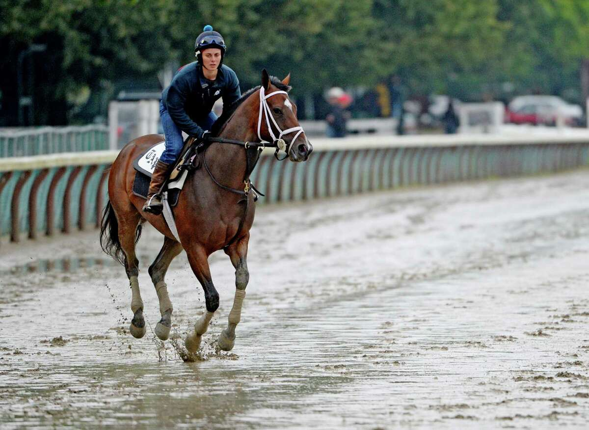 A horse trained by Todd Pletcher skips across the muddy main track during the exercise period after heavy rains hit the area Monday morning, July 28, 2014, at Saratoga Race Course in Saratoga Springs, N.Y. (Skip Dickstein / Times Union)