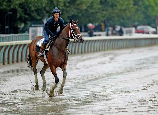 A horse trained by Todd Pletcher skips across the muddy main track during the exercise period after heavy rains hit the area Monday morning, July 28, 2014, at Saratoga Race Course in Saratoga Springs, N.Y. (Skip Dickstein / Times Union) Photo: SKIP DICKSTEIN