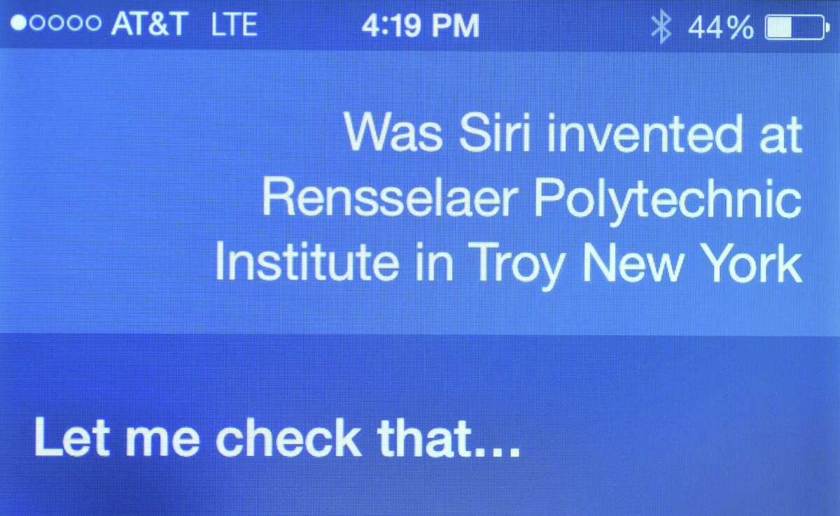 Apple's Siri is asked if it was created at Rensselaer Polytechnic Institute Monday afternoon, July 28, 2014, at the Times Union in Colonie, N.Y. RPI's lawsuit against Apple over Siri took interesting turn after the company that owned the patent's rights was sold to a public company.(Will Waldron/Times Union)
