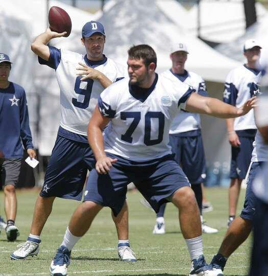 Zack Martin (front), the first-round pick out of Notre Dame expected to help protect QB Tony Romo th