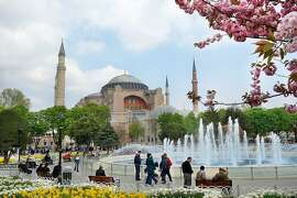 Built by the Byzantine Emperor Justinian in the early sixth century on the grandest scale possible, the Hagia Sophia was later converted into a mosque by the conquering Ottomans.  RS13Spring_1104.JPG