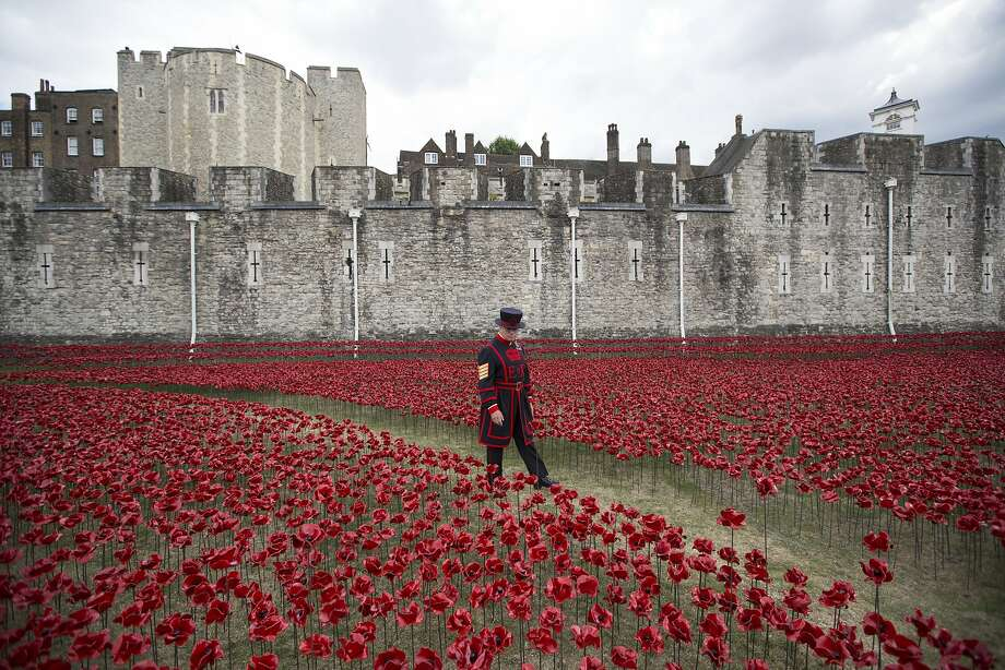 LONDON, ENGLAND - JULY 28: Yeoman Serjeant Bob Loughlin admires a section of an installation entitled 'Blood Swept Lands and Seas of Red' by artist Paul Cummins, made up of 888,246 ceramic poppies in the moat of the Tower of London, to commemorate the First World War on July 28, 2014 in London, England. Each ceramic poppy represents an allied victim of the First World War and the display is due to be completed by Armistice Day on November 11, 2014. After Armistice Day each poppy from the installation will be available to buy for 25 GBP. (Photo by Oli Scarff/Getty Images) *** BESTPIX *** Photo: Oli Scarff, Getty Images