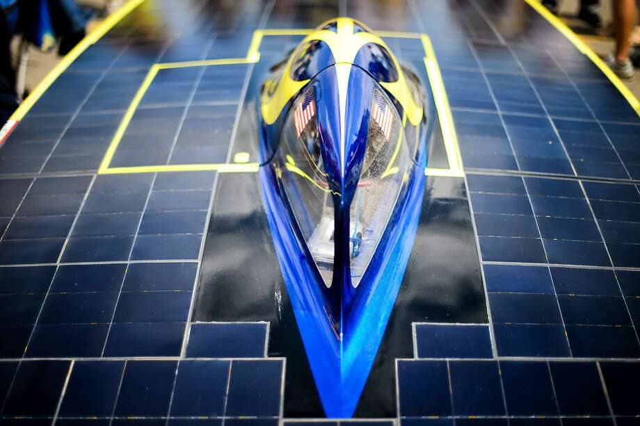 The cockpit of the University of Michigan car is seen at the American Solar Challenge in Minneapolis, Monday, July 28, 2014. (AP Photo/The Star Tribune, Glen Stubbe) Photo: Glen Stubbe, Associated Press
