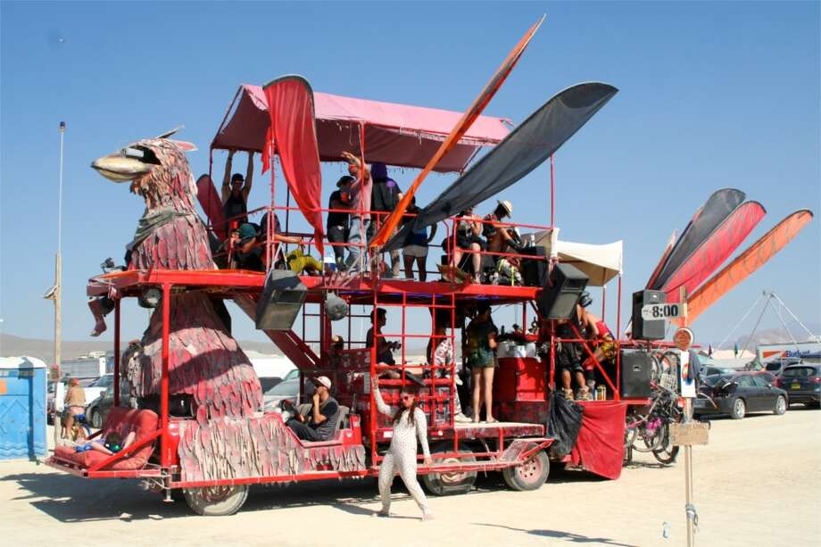 This. This is pretty much a classic, old school art car, a red rooster you can dance on, not meant to be looked as as much as giggled toward and then quickly hopped onto as it scuttles about the playa blasting  who knows what. Otis Redding? Skrillex? BB King? Bring it.