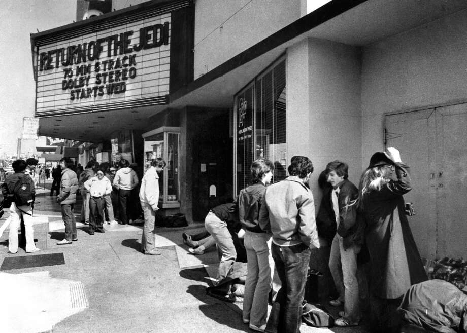 "CORONET THEATRE (May 15, 1983): This Geary Boulevard theater opened in 1949 and had stadium seating. It was a popular destination for ""Star Wars"" fans, who lined up days before the new movies. Photo: Pete Breinig, The Chronicle"