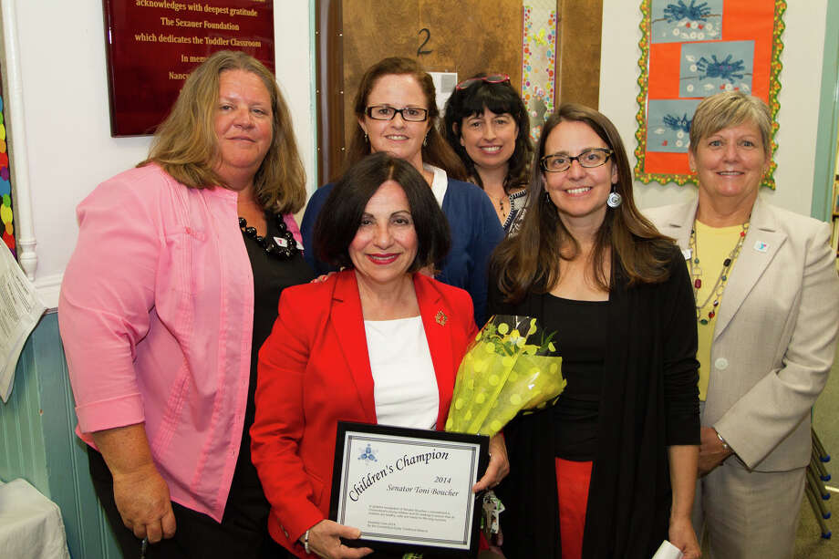 "State Sen. Toni Boucher, R-Wilton, whose district covers New Canaan, received the ""Children's Champion"" award from the Connecticut Early Childhood Alliance. At the ceremony were, back row from left, Jennifer Pane, Bethel YMCA branch director; Jill Crimi, Bethel YMCA preschool director; Michele Burbage, Bethel YMCA school age director; and Marie Miszewski, president and CEO regional YMCA of Western Connecticut. Front row, Boucher; Samantha Dynowski, director of advocacy and outreach for the Connecticut Early Childhood Alliance. Photo: Contributed Photo, Contributed / New Canaan News"