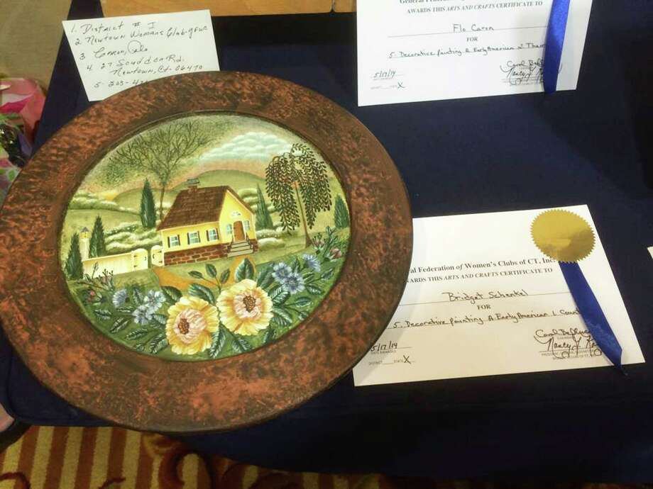 Bridget Schrenkel, a member of the WomanâÄôs Club of Greater New Milford, recently won a first-place award for a decorative painting project, above, entered in the General Federation of WomenâÄôs Clubs of ConnecticutâÄôs arts and crafts competition. She was one of several members to take home awards.  Courtesy of the WomanâÄôs Club of Greater New Milford Photo: Contributed Photo / The News-Times Contributed