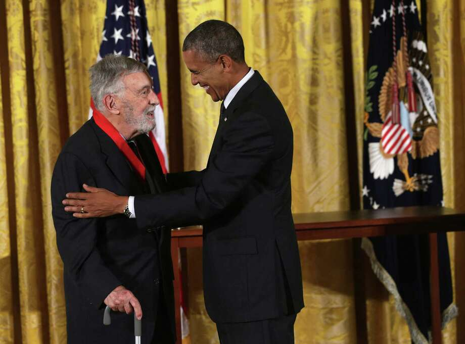U.S. President Barack Obama (R) presents the 2013 National Humanities Medal to historian David Brion Davis (L) during an East Room ceremony July 28, 2014 at the White House in Washington, DC. Davis was honored for his contributions for reshaping our understanding of history. Photo: Alex Wong, Alex Wong/Getty Images / 2014 Getty Images Alex Wong/Getty Images