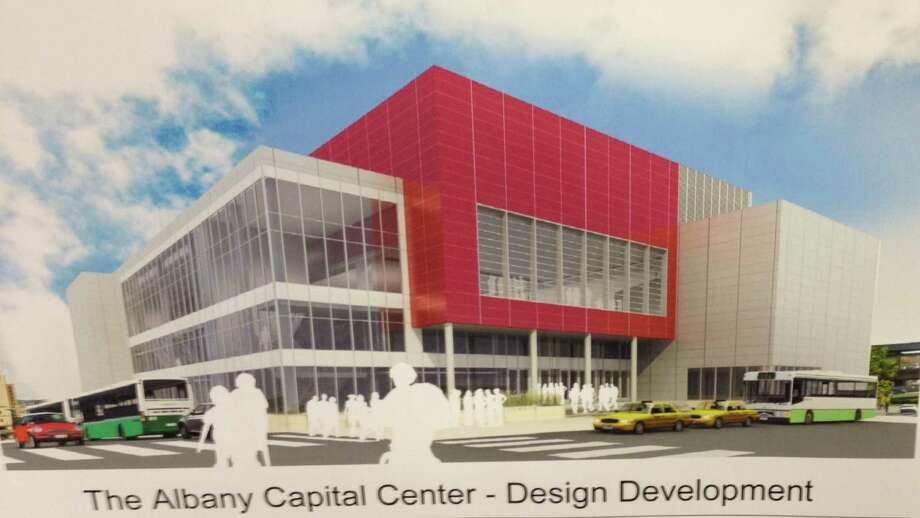 The latest rendering of the proposed Albany Capital Center released by the Albany Convention Center Authority, July 29, 2014. The image is looking east from the corner of Eagle and Howard streets. Authority officials say to ignore the color scheme, which has not yet been decided. (Jordan Carleo-Evangelist/Times Union)