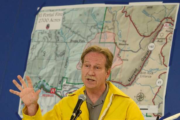 Yosemite National Park Superintendent Don Neubacher talks about the fire situation in El Portal , Calif., on July 28, 2014. (AP Photo/The Fresno Bee, Mark Crosse) LOCAL PRINT OUT (VISALIA TIMES-DELTA, REEDY EXPONENT, KINGBURG RECORDER, SELMA ENTERPRISE, HANFORD SENTINEL, PORTERVILLE RECORDER, MADERA TRIBUNE, THE BUSINESS JOURANL FRENSO); LOCAL TELEVISION OUT (KSEE24, KFSN30, KGE47, KMPH26)