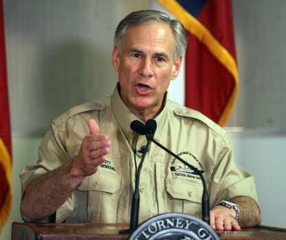 "Attorney General Greg Abbott speaks to the media about recent immigration in the Rio Grande Valley at the Texas Department of Safety Regional offices Friday, June 27, 2014, in Weslaco, Texas. A week after Gov. Rick Perry directed $1.3 million per week toward bolstering border security, Abbott said Friday he sees ""measurable and meaningful results."" Abbott, who's the Republican nominee for governor, said after being briefed by Border Patrol and the Department of Public Safety in Weslaco that there has been no increase in crime and may have actually been a decrease in illegal activity. (AP Photo/The Monitor, Joel Martinez) Photo: Joel Martinez, Associated Press"