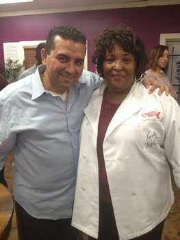 Buddy Valastro, of Buddy's Bakery Rescue, left, and Myrtle Zachary Jackson, owner of Not Jus' Donuts bakery, featured on the show July 29, 2014.