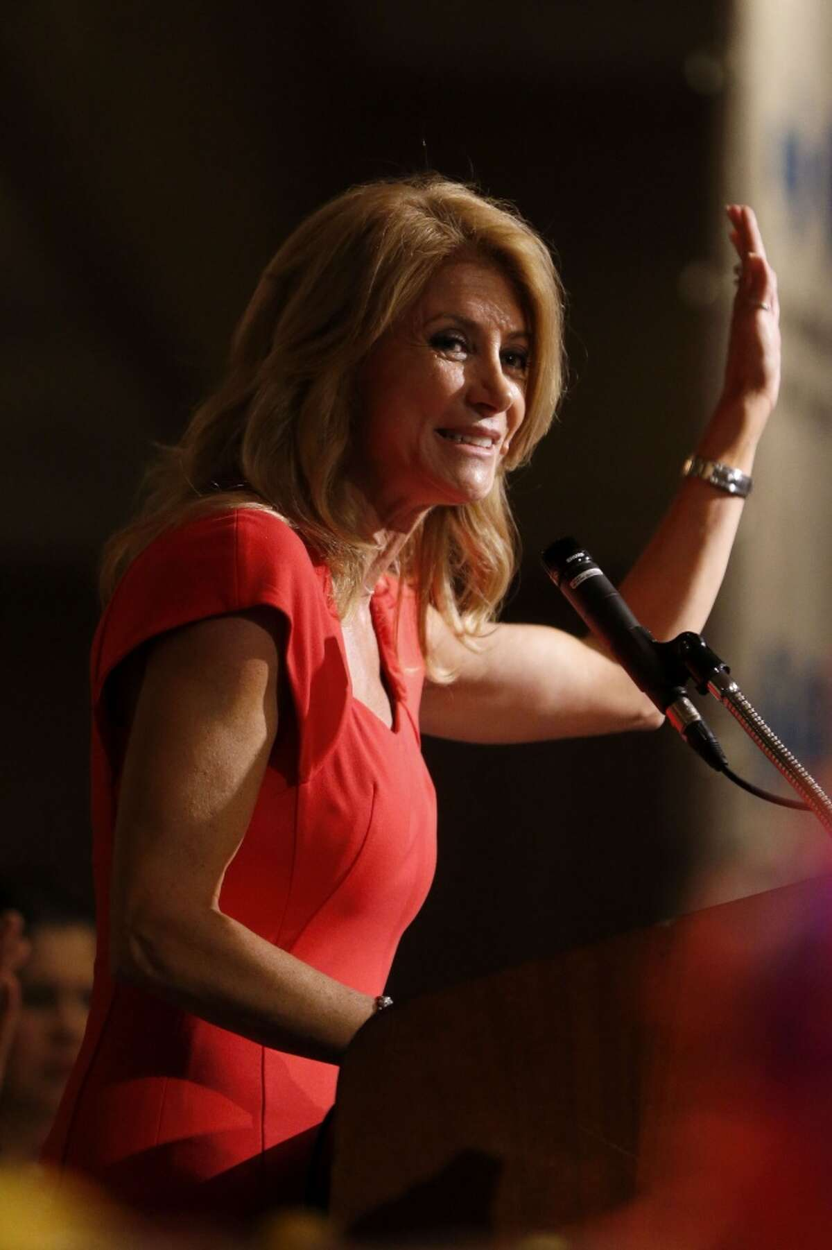 Wendy Davis speaks to the 2014 Texas LULAC State Convention's State Director's banquet at the Westin Oaks Houston, Saturday, June 7, 2014, in Houston. ( Karen Warren / Houston Chronicle )
