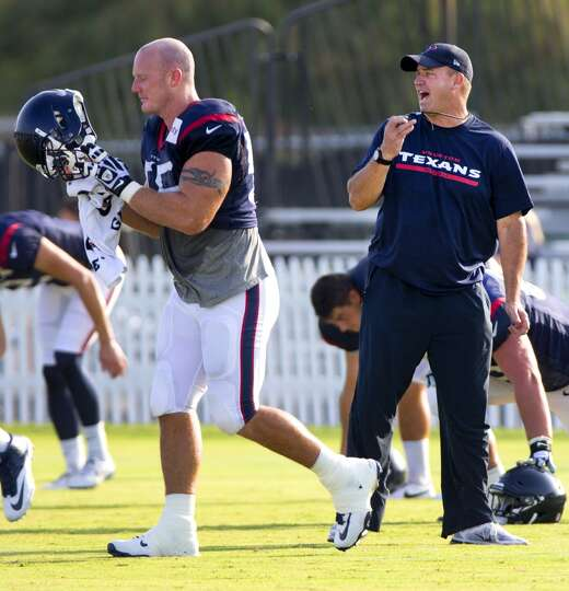 Day 4: July 29   Texans center Chris Myers (55) prepares to put on