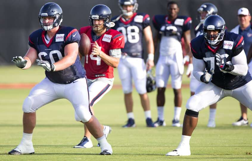 Day 4: July 29   Texans quarterback Ryan Fitzpatrick (14) drops bac