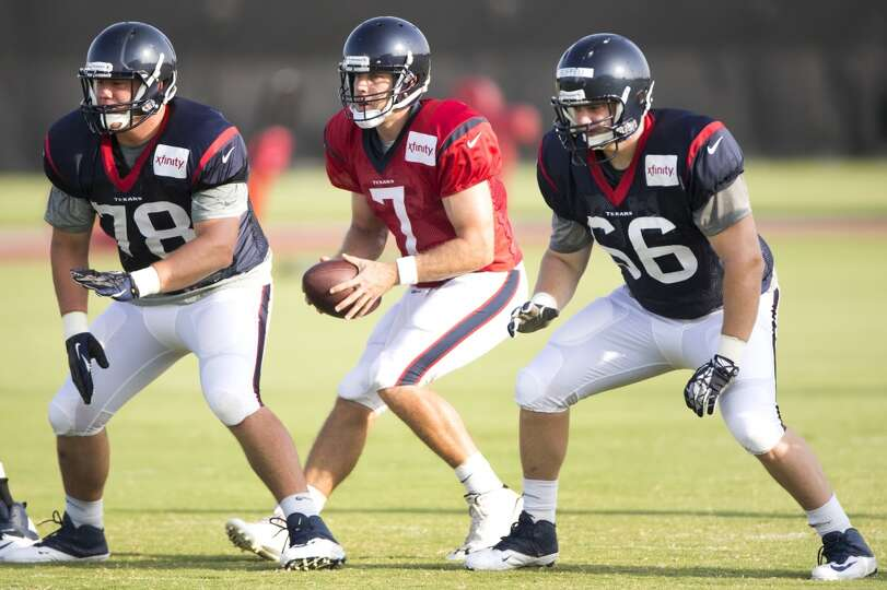 Day 4: July 29   Texans quarterback Case Keenum (7) drops back to t