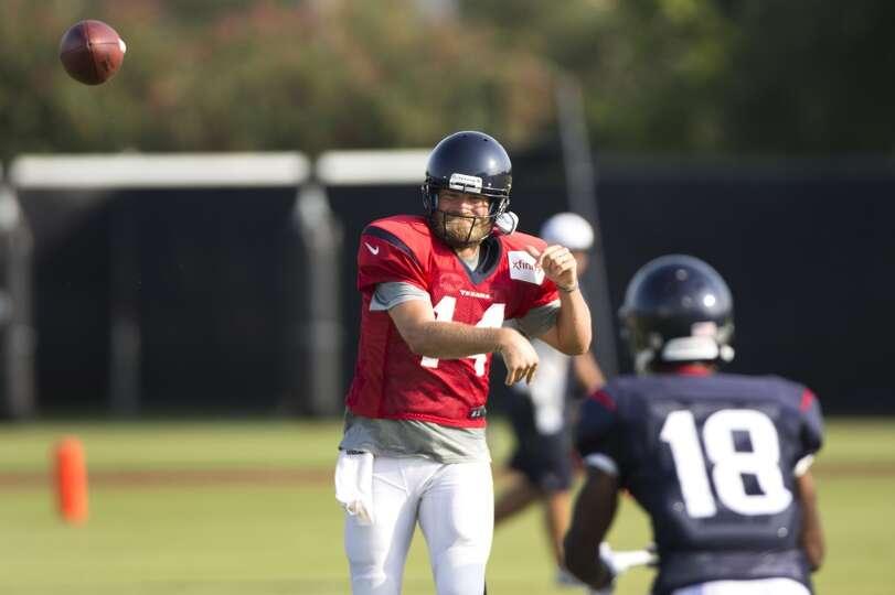 Day 4: July 29   Texans quarterback Ryan Fitzpatrick (14) throws a