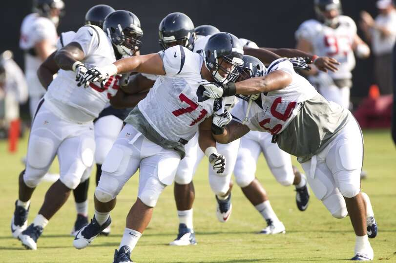 Day 4: July 29   Texans defensive lineman Austin Brown (71) runs a