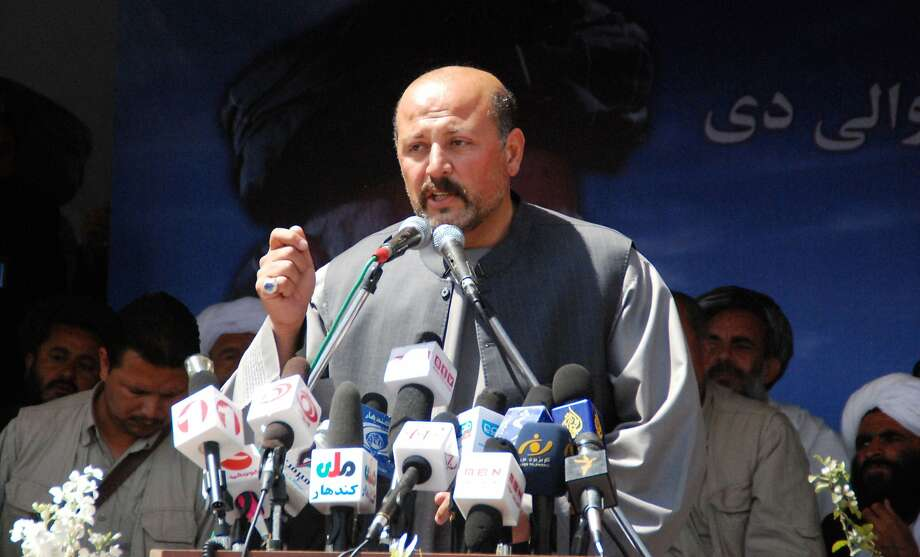 Hashmat Khalil Karzai speaks in March at a rally in Kandahar. Photo: Str, Associated Press