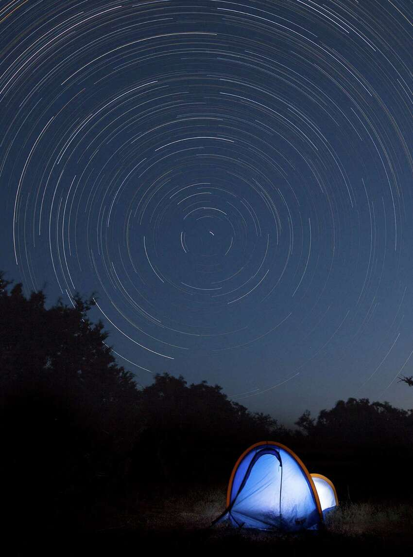 Backyard camping in Dripping Springs, the first city in Texas to be designated a Dark Sky Community.