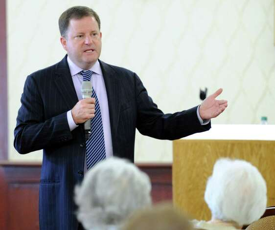 Republican candidate for Governor of Connecticut, John McKinney of Fairfield, campaigns at the Edgehill retirement community in Stamford, Conn., Tuesday afternoon, July 29