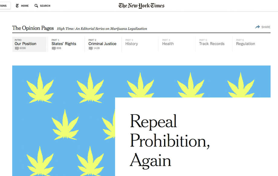 The New York Times has given the push for legalization of recreational, adult-use marijuana a big boost with a series of editorials laying out the reasons to end prohibition of weed. It's great stuff and we're sharing some of the salient points in this gallery.The series has just begun, so ... go to the New York Times for the complete series as it develops.