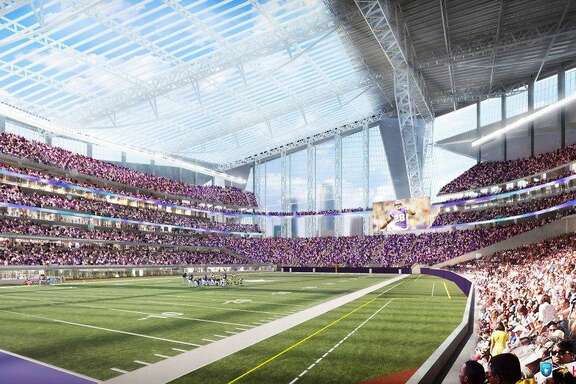 FILE - This artists rendering released on May 13, 2013, by the Minnesota Sports Facilities Authority and the Minnesota Vikings shows the new Minnesota Vikings stadium. Minneapolis has been awarded the 2018 Super Bowl by NFL owners. The owners rewarded the Vikings for arranging to build a new stadium on the site of the old Metrodome by choosing Minneapolis over New Orleans and Indianapolis.  (AP Photo/HKS Sports and Entertainment Group, File)