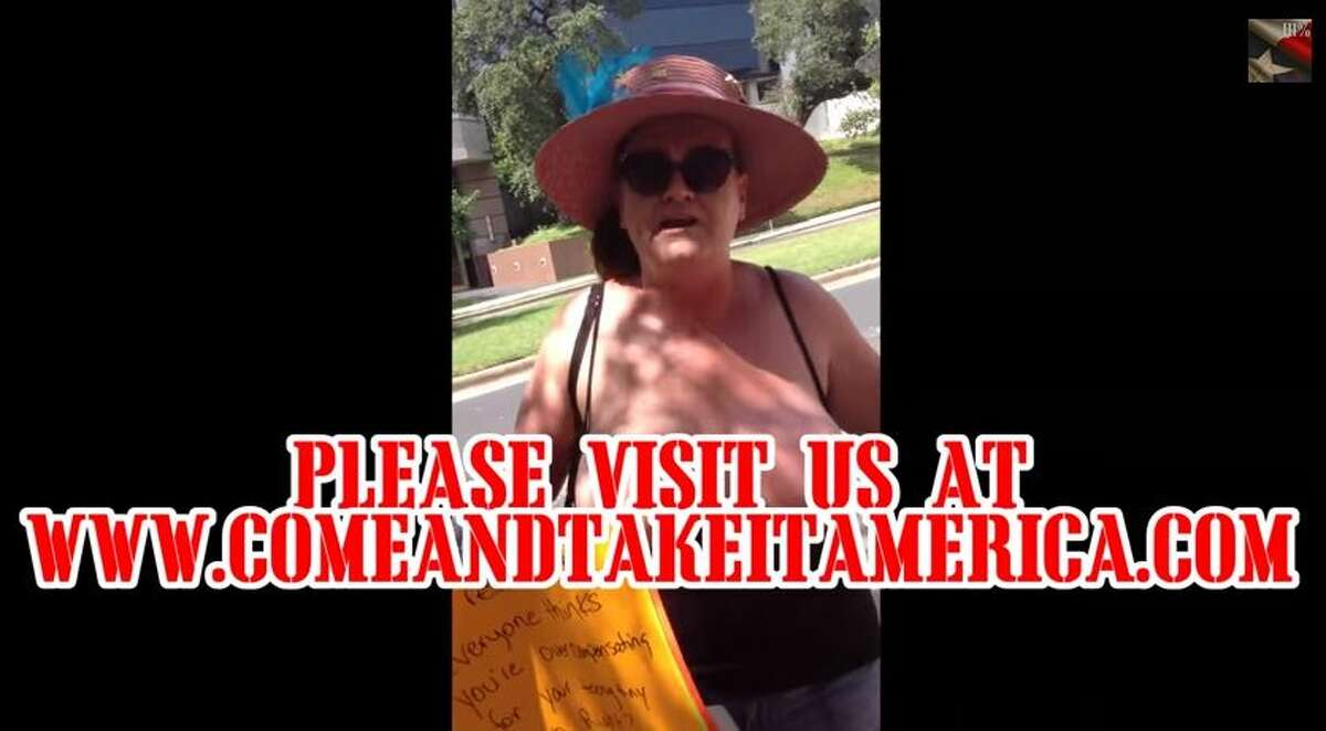Come and Take It Texas posted a video Sunday of two women baring their breasts in an attempt to counter the gun group's demonstration on Saturday, calling them