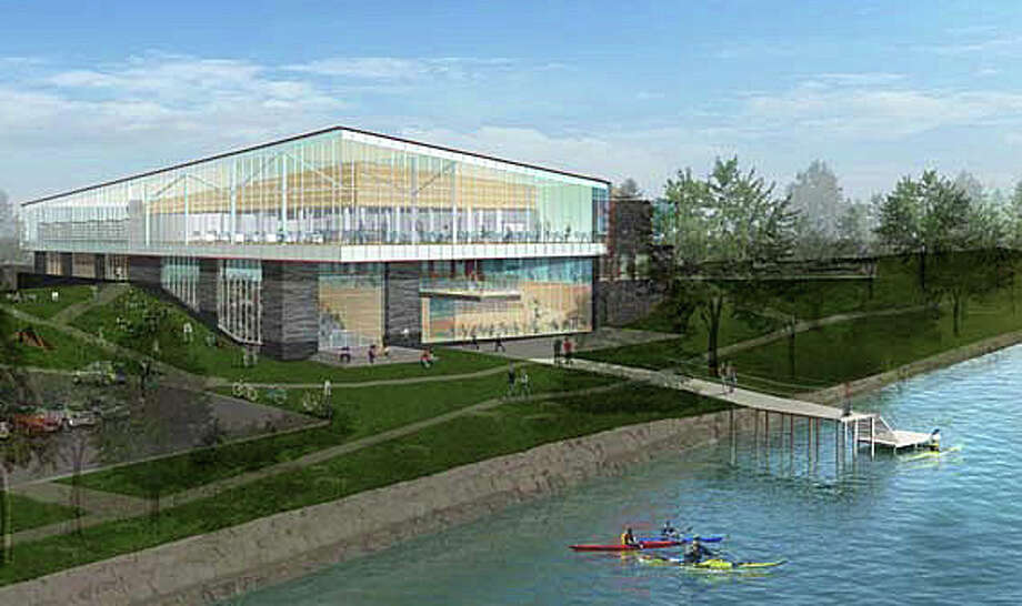 An architect's rendering of a conceptual proposal for the expanded and rebuilt Westport Library. Photo: Contributed Photo / Westport News