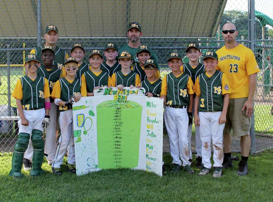 The 12 players of U10 New Milford Pride A youth baseball team raised $1,100 this season that will be donated to Loaves & Fishes soup kitchen. (front row, left to right) Michael Muller Will Granata Matt Sheedy Evan Lindner Jack Coloneri Braydon Stellato Miles Pokrinchak  (second row, left to right) Maxwell Gomes Riley Corgan Cole Dickenson Nick Tomasello Justin Leclair  (coaches, left to right) Len Tomasello John Stellato Bill Granata Photo: Contributed Photo / The News-Times Contributed