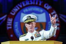 This photo provided by The University of Texas at Austin  shows Naval Adm. William H. McRaven, an alumnus, delivering the commencement keynote address on Saturday, May 17, 2014. McCraven is the ninth commander of the United States Special Operations Command and is best known for having planned and directed the U.S. Joint Special Operations Command (JSOC) raid that led to the death of Osama bin Laden. (AP Photo/ The University of Texas at Austin,  Marsha Miller)